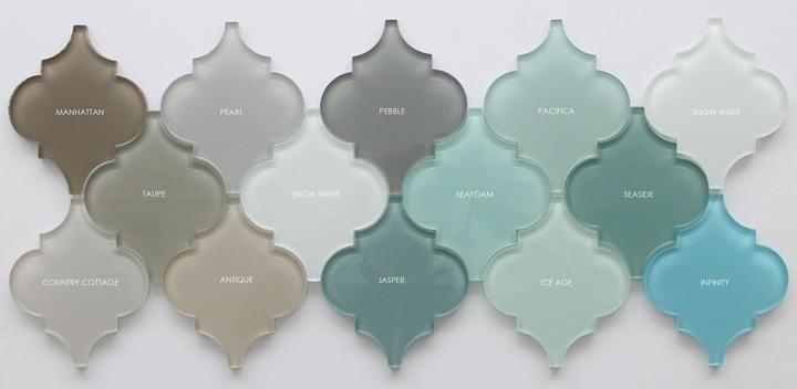 ... Jasper Blue Gray Arabesque Glass Mosaic Tiles - Rocky Point Tile -  Glass and Mosaic Tile