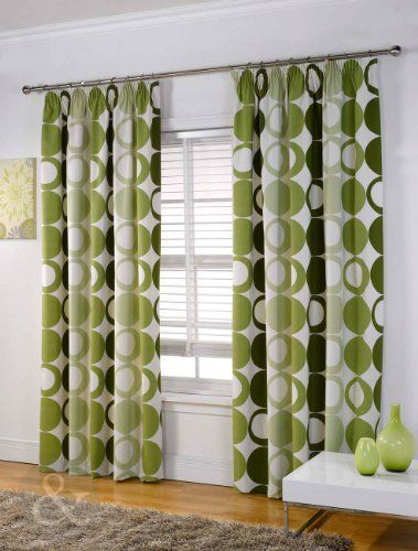 Modern Halo Curtains Heavy Weight Half Panama Pencil Pleat Lined Curtain Green Cream Olive Lime