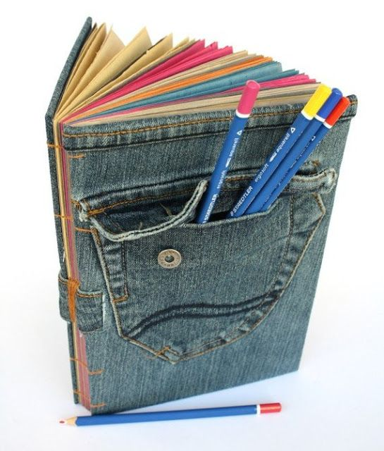 el yapımı kot pantolondan defter kabı