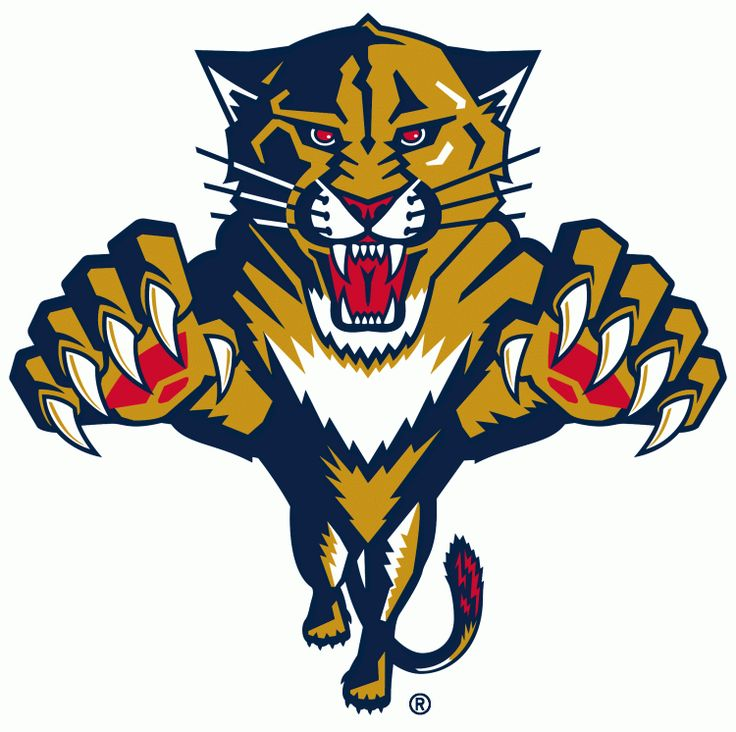 Florida Panthers Primary Logo (2000) - A gold, blue, and red Florida panther leaping forward.  Shades of blue and red have been altered from...