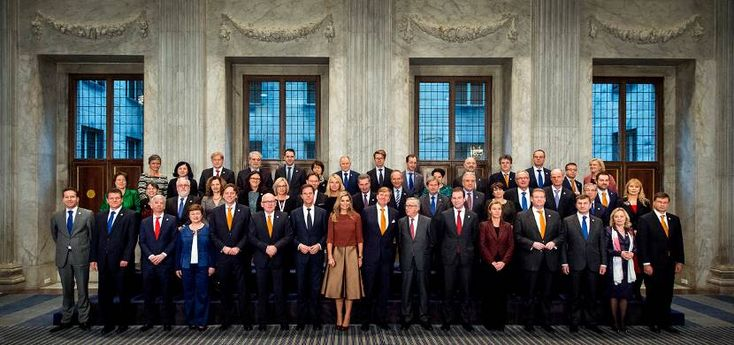 Queen Maxima and King Willem-Alexander welcome European Commision in the Royal Palace Noordeinde in The Hague. Jan. 7, 2016