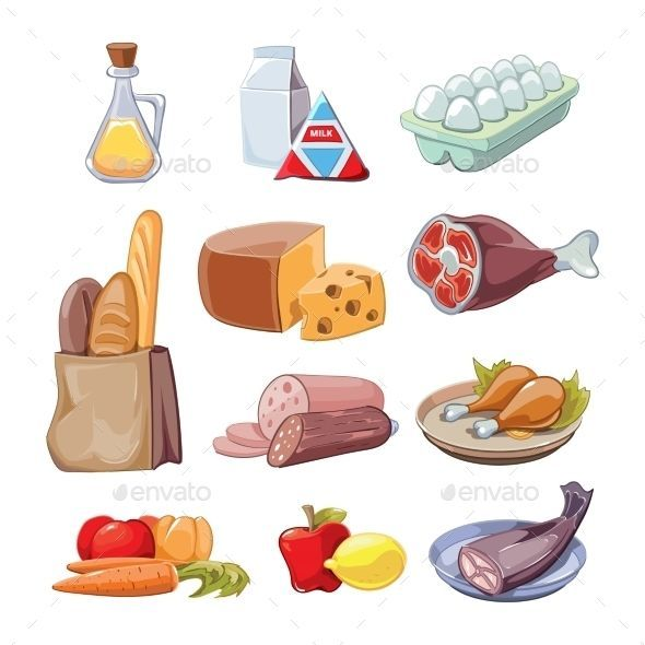 Common Everyday Food Products Vector Cartoon Cartoon Common Everyday Food Healthy Diet Drawing Products In 2020 Everyday Food Healthy Diet Tips Cartoon Clip Art