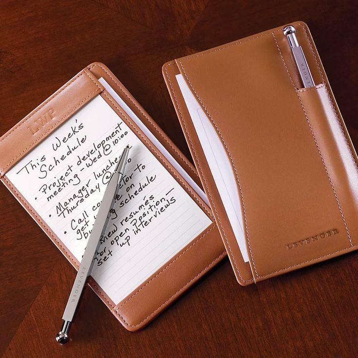 Pen Pocket Briefcase - Leather Notepad, Writing Pad, Index Card Holder - Levenger
