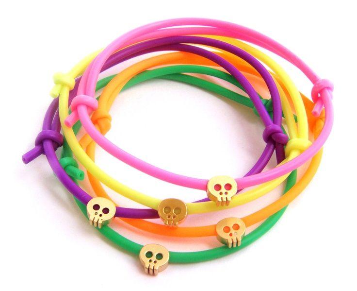 Best Bracelet 2017/ 2018 : I am buying a whole lot of these!  Tiny Skull Neon Bracelet  Rubber Bracelet w/