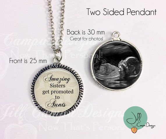52 best baby sonogram jewelry gifts images on pinterest baby pregnancy reveal gift new aunt new auntie double sided pendant with your babys sonogram negle Image collections