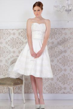 Audrey Lynn Vintage Bridal Shelly Dress | Strapless mikado tea length wedding dress with beaded lace applique on bodice and three layers of beaded lace applique along the full circle skirt