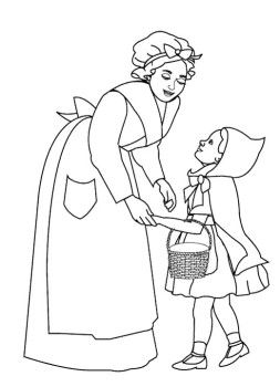 Little Red Riding Hood And Mom Coloring Page For Kids