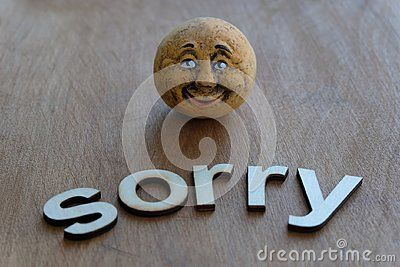 Sorry idea with an artistic terracotta head and wooden letters dext over a wooden board