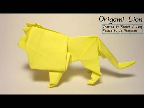 How to make an origami Lion   Created by Robert J. Lang (www.langorigami.com)   Diagram on the book Origami Zoo   Presented here by Jo Nakashima with permission of the creator    My paper:  20cm x 20cm printer paper    I re-uploaded this video to put the credits properly and also added some more instructions      MY FACEBOOK PAGE:  http://www.fa...