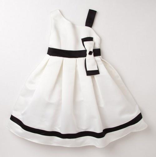 Vestido formal medio lado, blanco y negro.