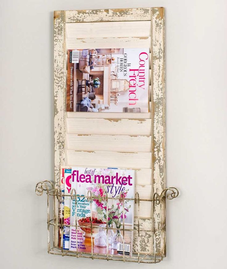 Country Chic Distressed Whitewash Wall Shutter Magazine Rack,18''L x 31.5''H.