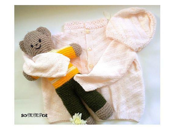 OOAK Handknit baby jacket OOAK Infant jacket girls jacket