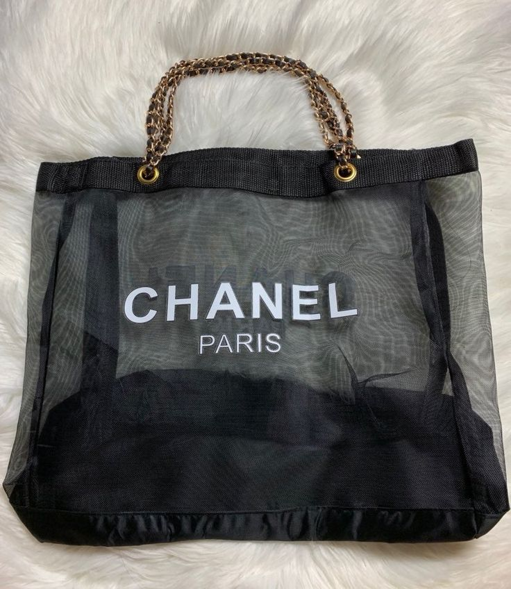 NEW Chanel Black Mesh tote Vip Gift Bag. This is Authentic