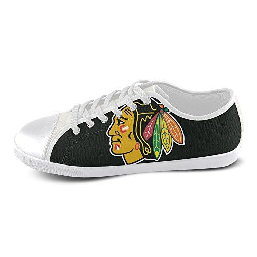 Show-shoes Custom Chicago Blackhawks Lace-up Flats Canvas Shoes Soft Comfortable Sneakers for Adult Women (Model016) 6US M