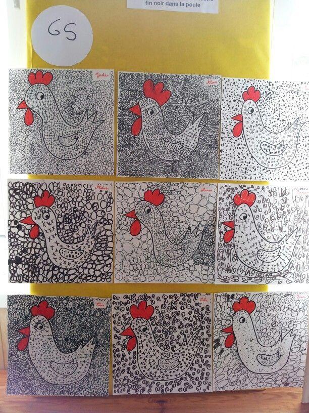 poules en noir et blanc