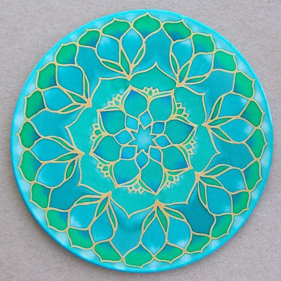 Mandala sur soie 20cm Ø peinture sur soie fleur par ShantiCreation