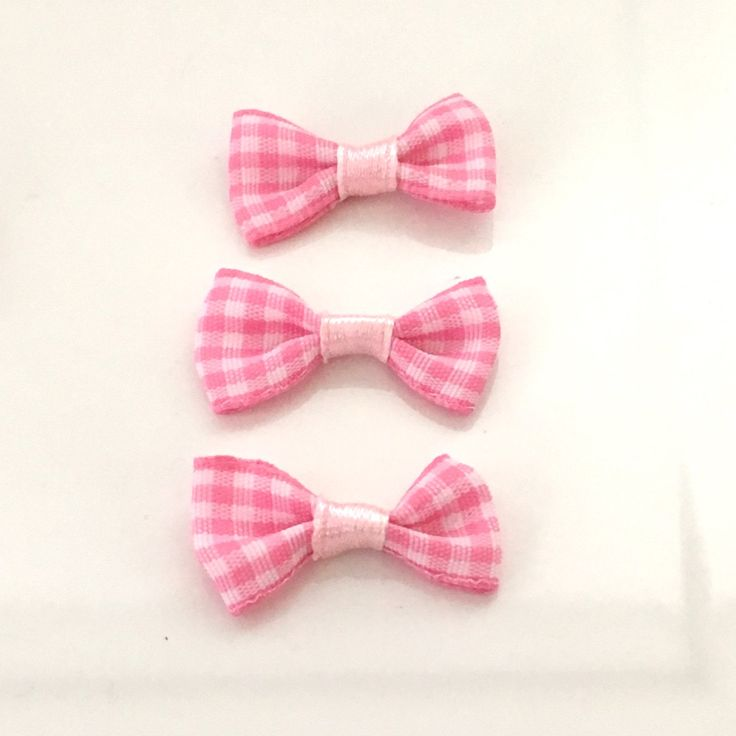 10, pink gingham bows, pink plaid bows, pink bows, gingham ribbon bows, gingham check bows, bows uk, cardmaking bows, craft supplies uk by Buttonsheduk on Etsy