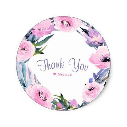 #flower - #Floral Wreath Watercolor Elegant Bridal Shower Classic Round Sticker
