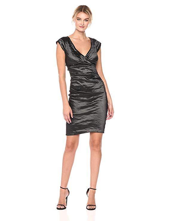 4b3eaae3885ee2 Nicole Miller Women's Beckett Techno Metal Dress, Black/Black, 2 ...