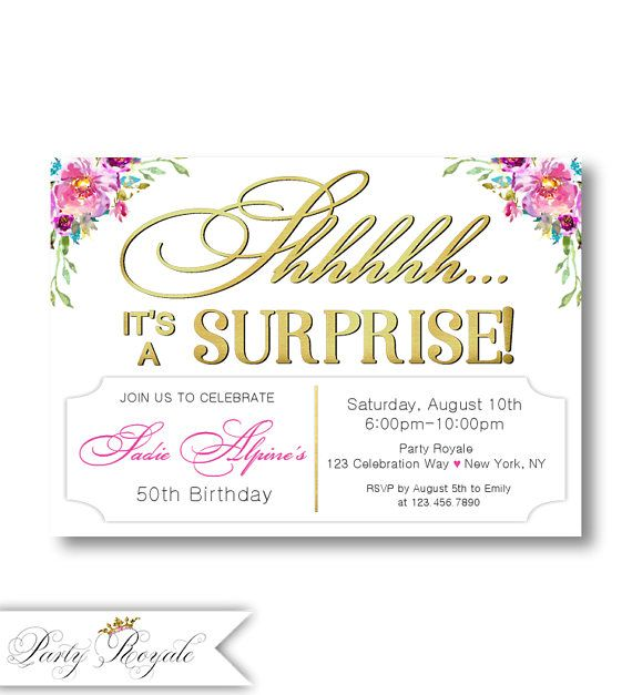 114 best Surprise Birthday Party Invitations images on Pinterest
