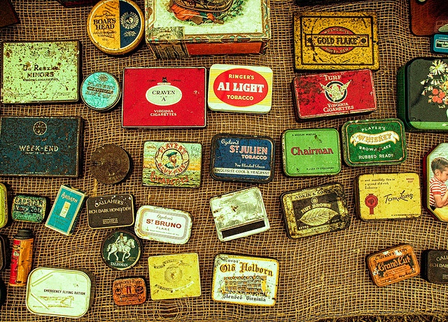 A collection of old British tobacco tins at the Great Dorset Steam Fair by Anguskirk, via Flickr
