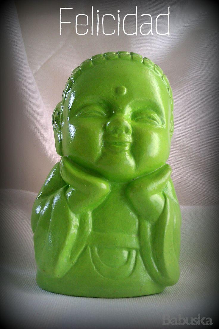 """Buda """"Felicidad"""" laqueado y pintado a mano"""