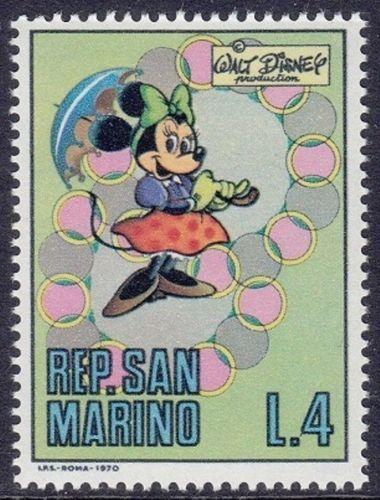 San Marino 1970 Disney Memorial Stamps depicting Minnie Mouse / Mimmi Pigg / Minie. Artist: Giovan Battista Carpi