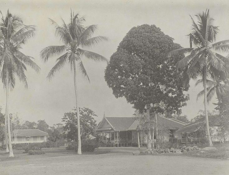 Gebouwen onder bomen, anoniem, 1903 - 1907