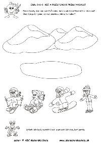 zimné športy - kto kde patrí - pracovný list z ABC