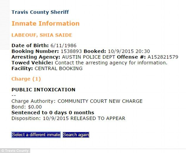 Booked: Pictured is Shia's Inmate Information sheet that lists the reason for his arrest as 'public intoxication'