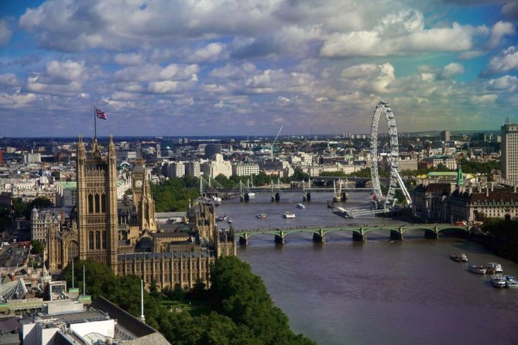 Houses-of-Parliament London and the Thames view from a high building near by.