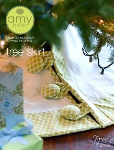 """Amy Butler tree skirt pattern. FREE. - I have had thoughts of adding a PUL liner within a tree skirt to make for a """"waterproof"""" skirt for those mishaps when refilling the stand with water.  Rr maybe it's just me that has those mishaps? I haven't yet done this, I admit (add PUL to a tree skirt)"""