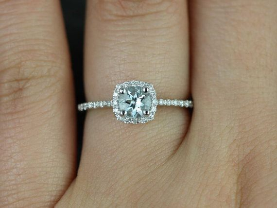 Barra Ultra Petite Size 14kt White Gold Aquamarine and Diamonds Cushion Halo Engagement Ring (Other Stone and Metals Available) on Etsy, $590.00