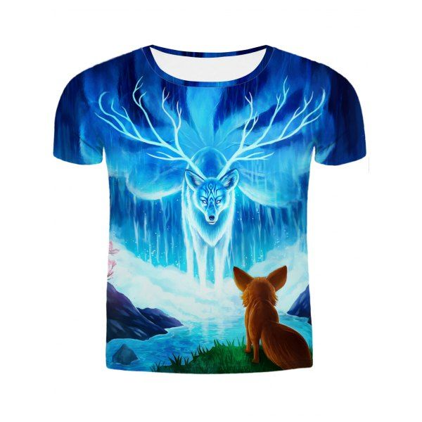 $13.48 Hot Sale Round Neck 3D Animal Printing Slimming Short Sleeves T-Shirt For Men