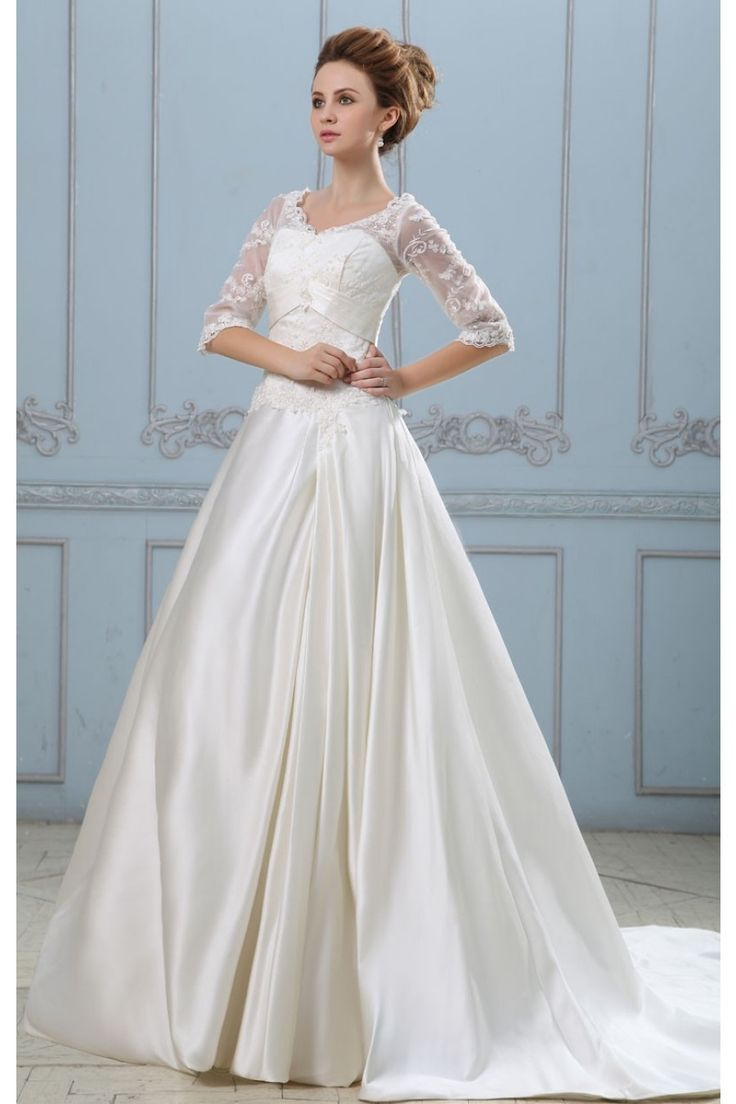 A-linie V Ausschnitt Lang Ärmel Satin Spitze Brautkleider $301.99 Brautkleider mit Spitze