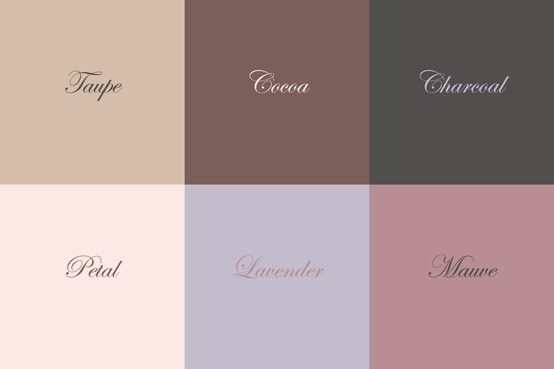 Color story for styling - neutrals, warm, pastels. Taupe, cocoa, charcoal, petal, lavender, mauve.