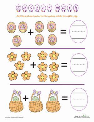 Easter Math: Egg Basket Addition Worksheet