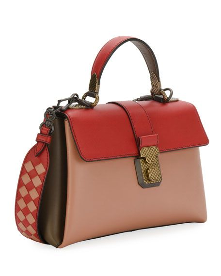 64fefe742c7 Colorblock Leather Top Handle Bag Satchel Bag, Bottega Veneta, Color  Blocking, Handle,
