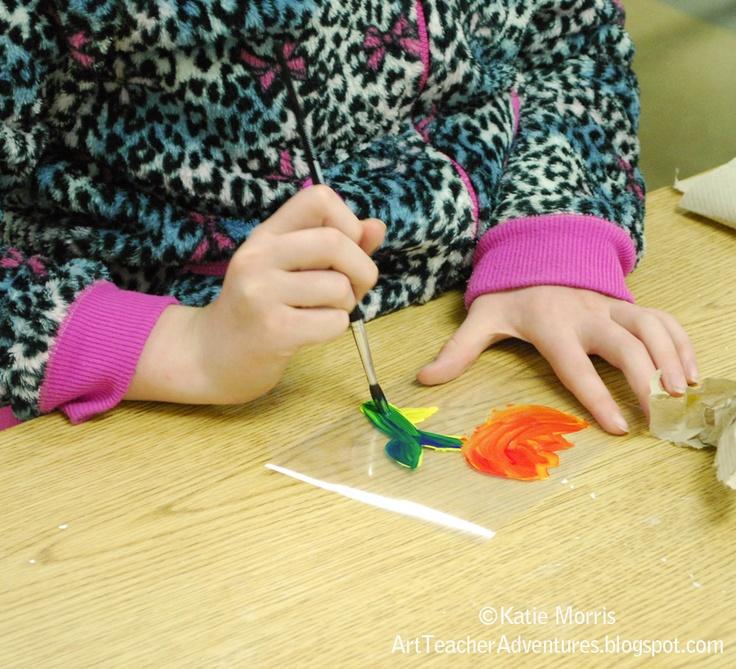 Adventures of an Art Teacher: using scraps of Laminate for Monoprints
