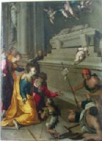 Felice Brusasorci (Verona cirea 1540-1605)- Miracolo presso la tomb di San Giacito nella chiesa olel Dominicani di Cracivia. Cud przy grobie świętego Jacka w kościele dominikanów w Krakowie. Wskrzeszenie niemowlęcia