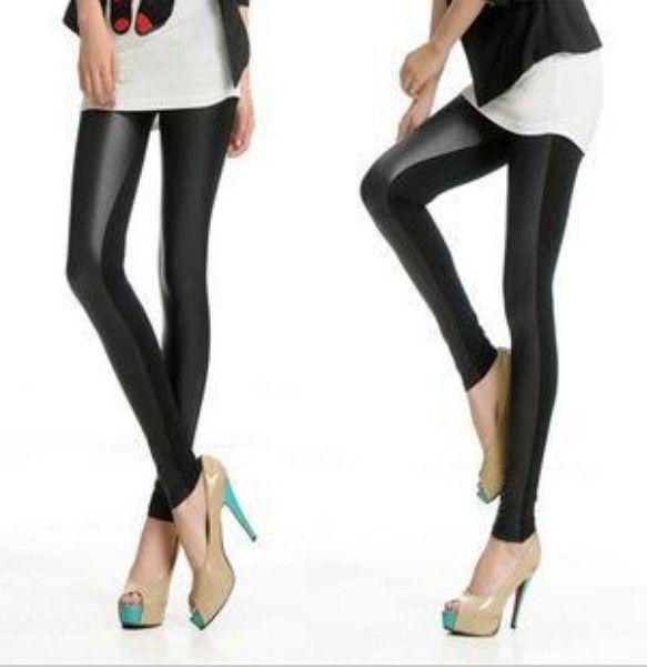 para hacer punto de oriente b50 sexy de la moda de cuero de imitación botas pantalones skinny patchwork negro polainas de envío gratis
