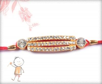 buy online rakhi - #Designer #Diamond #Traditional #Rakhi, Stunning Diamond Rakhi with Golden Beads, surprise your loved ones with roli chawal, chocolates and a greeting card as it is also a part of our package and that too without any extra charges. http://www.bablarakhi.com/