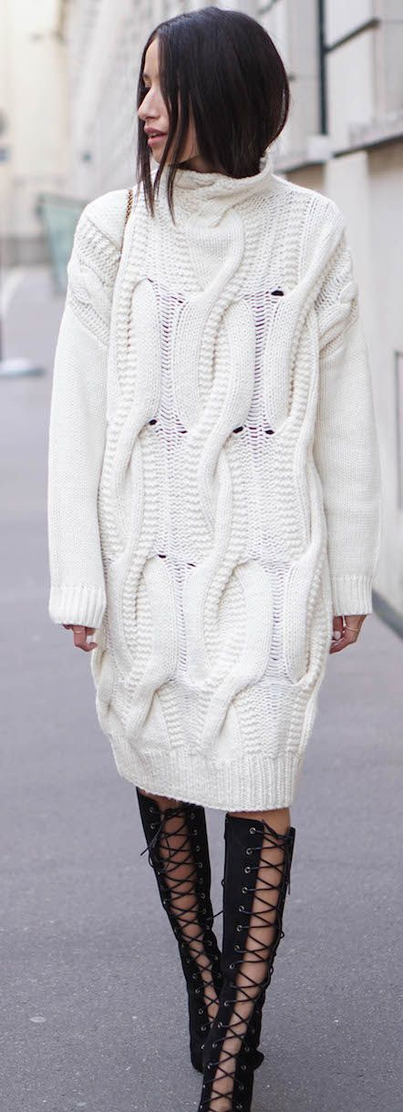 Alex's Closet White Cable Knit Sweater Dress Fall Street Style Inspo