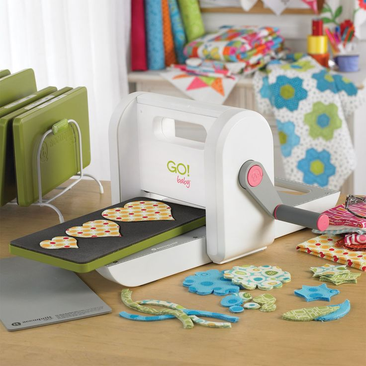 """GO! Baby Fabric Cutter (55300) - shown with optional Heart-2"""", 3"""", 4"""" Die (55029) and GO! Cutting Mat 6"""" x 12"""" (55012)"""