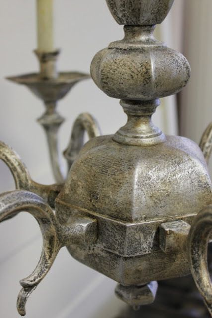 Maison Decor: Painting a Brass Chandelie! It looks amazing!