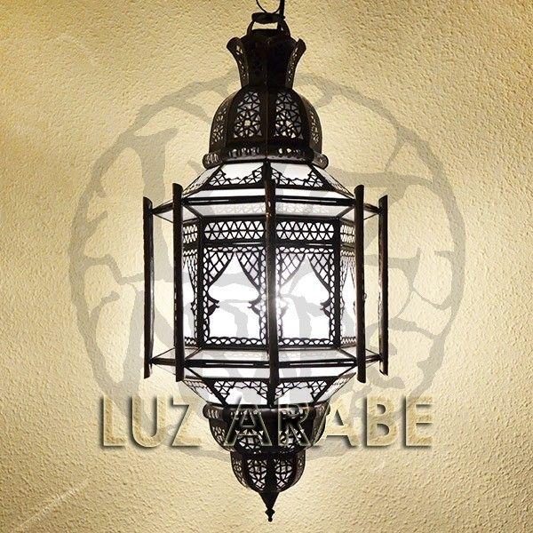 Gran lampara arabe octagonal con ocho barras de forja bronceada calada y cristal blanco opaco 99,95 €