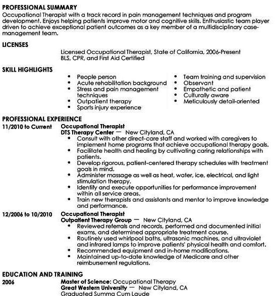 Sample Resume For Occupational Therapist  Resume Cv Cover Letter