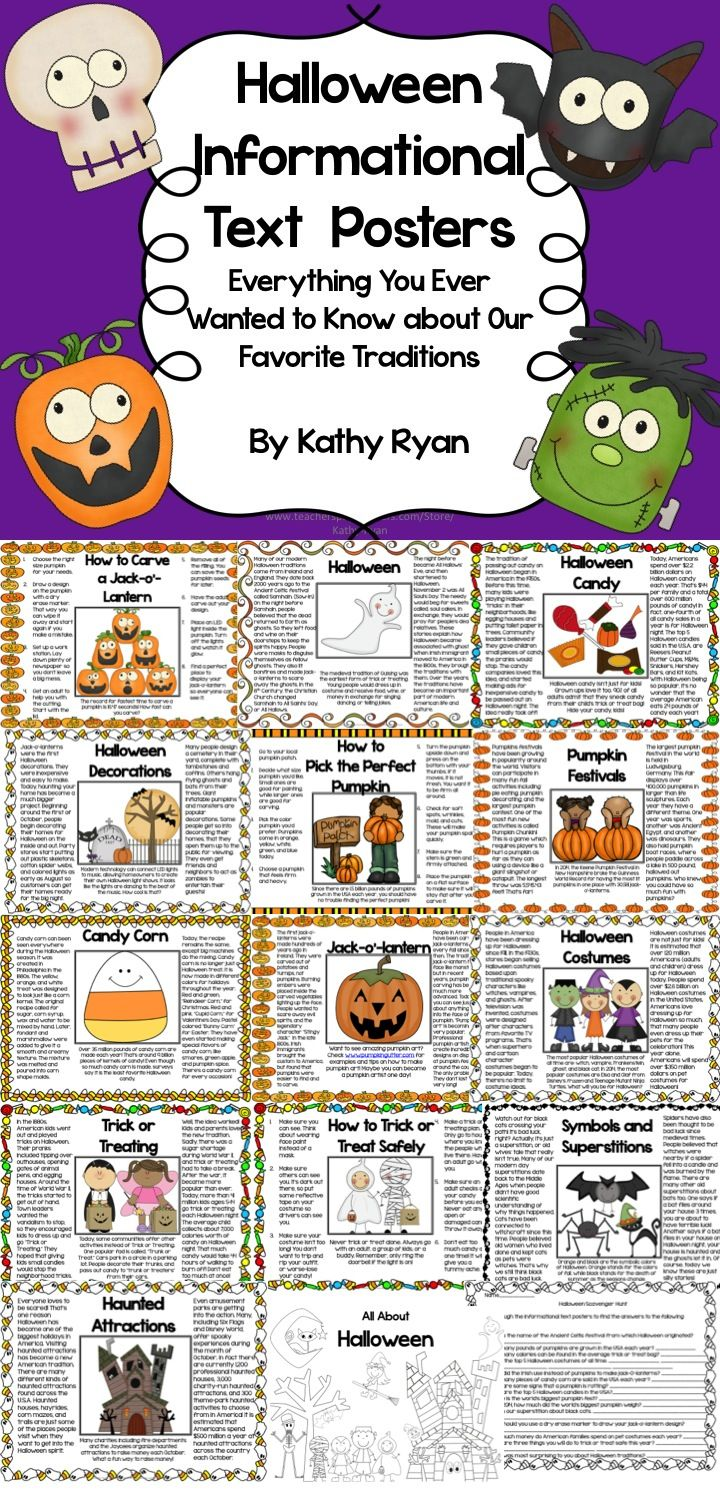Get your kids excited about reading non-fiction with these 14 fun, fact-filled Halloween Informational Text Posters. Copies are available in color and bw for your printing needs. May be hung as posters, or bound in a coloring book for each student. $