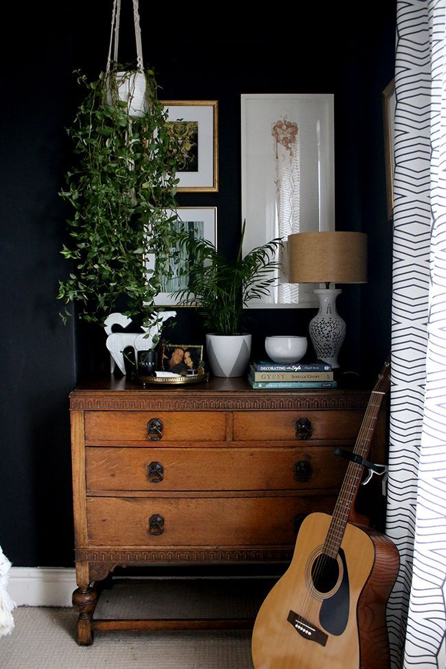 vintage chest of drawers with plants