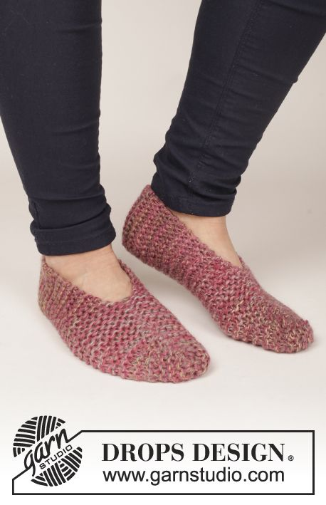 "Knitted DROPS slippers in garter st in 4 strands ""Delight""."